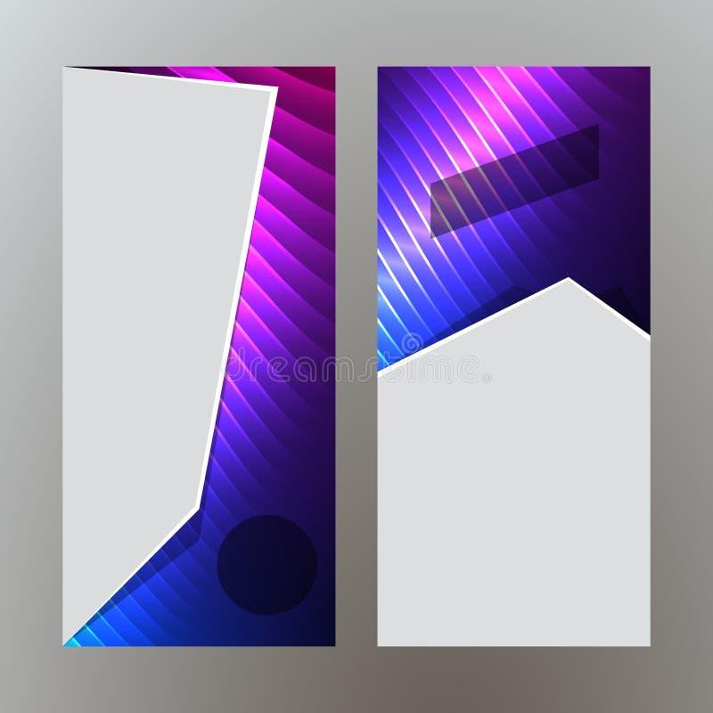 Ställ in purpurfärgat neon effect07 för vertikala banerbakgrundsblått stock illustrationer
