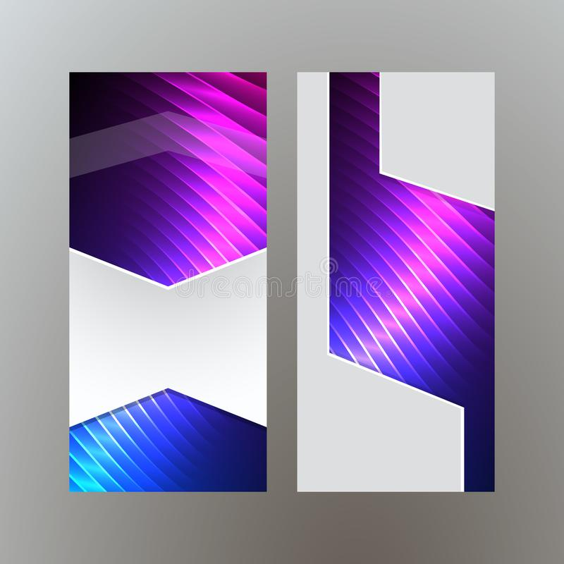 Ställ in purpurfärgat neon effect08 för vertikala banerbakgrundsblått stock illustrationer