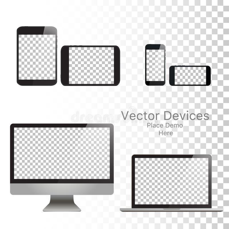 Ställ in realistiska vektorapparater på en isolerad vit bakgrund Vektormodell Tom apparatmall också vektor för coreldrawillustrat stock illustrationer