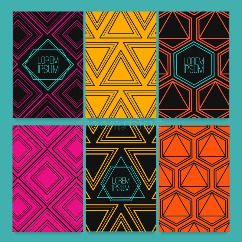Ställ in reklamblad, affärskort, häften, emblem, inbjudanmall Malldesign med modernt, moderiktigt retro triangulärt vektor illustrationer