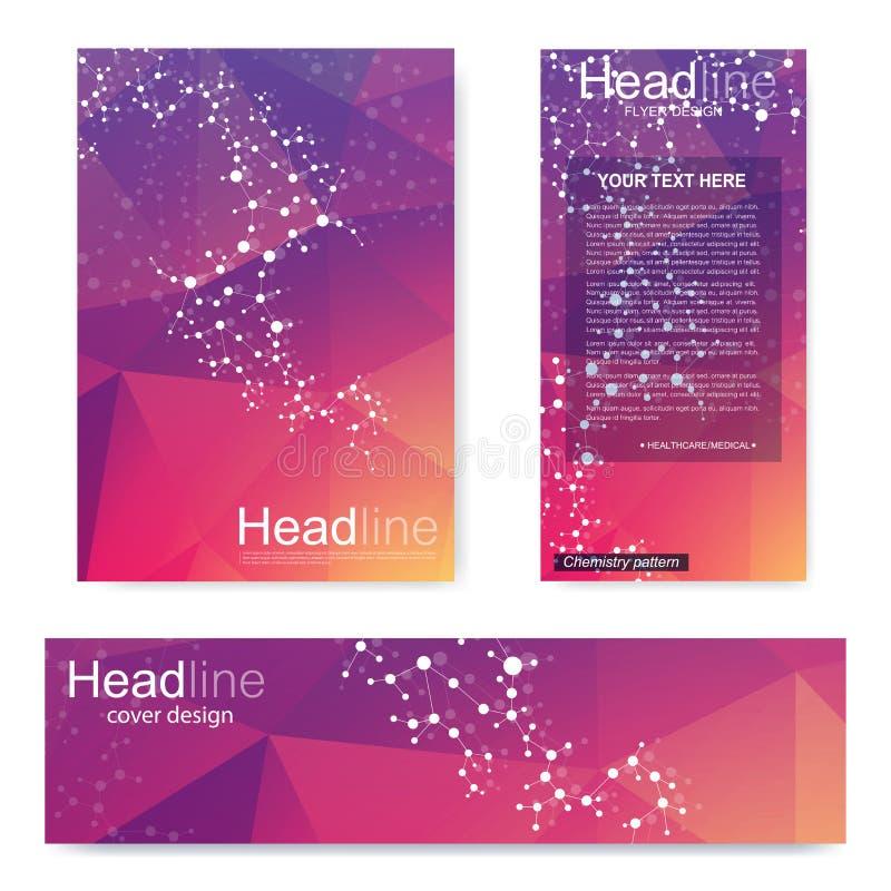 Ställ in reklambladet, mallen för broschyrformatet A4, baner Molekylär struktur med förbindelselinjer och prickar Vetenskaplig mo royaltyfri illustrationer