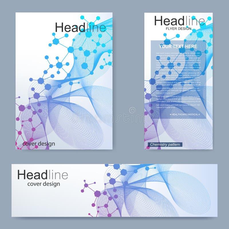 Ställ in reklambladet, mallen för broschyrformatet A4, baner Molekylär struktur med förbindelselinjer och prickar Vetenskaplig mo vektor illustrationer