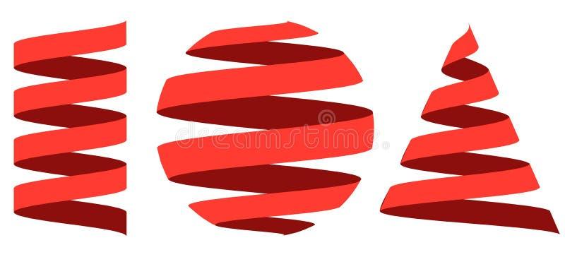 Ställ in remsan för bandet som 3D centreras på den geometriska formsfären royaltyfri illustrationer
