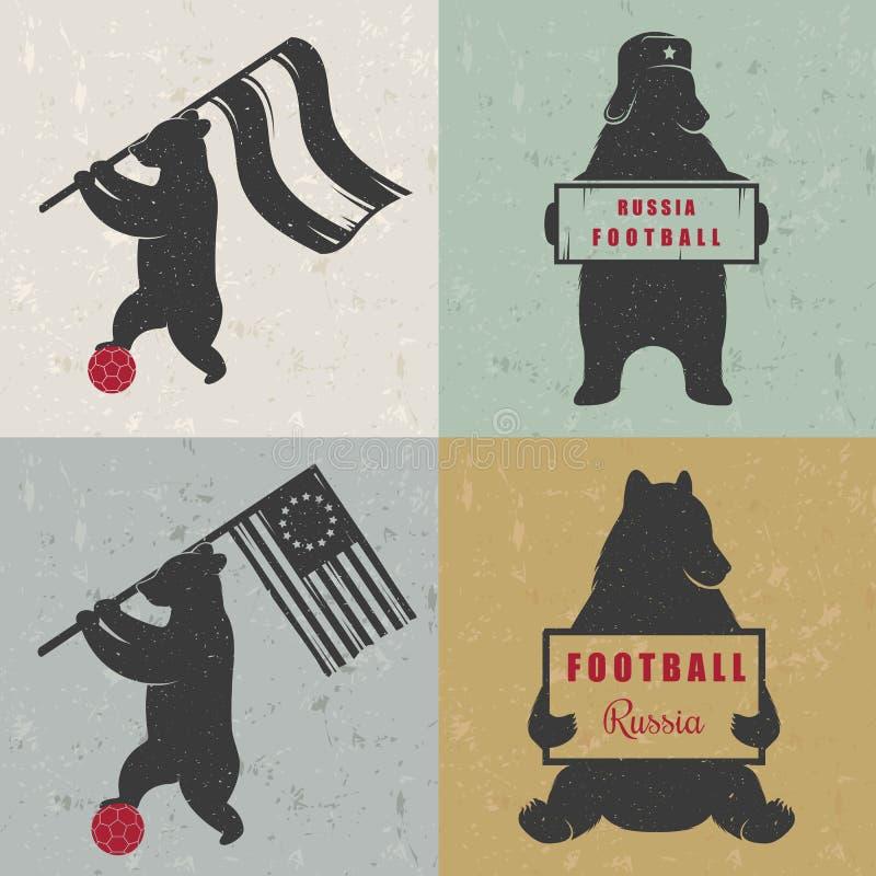 Ställ in roliga björnar för tecknet stock illustrationer