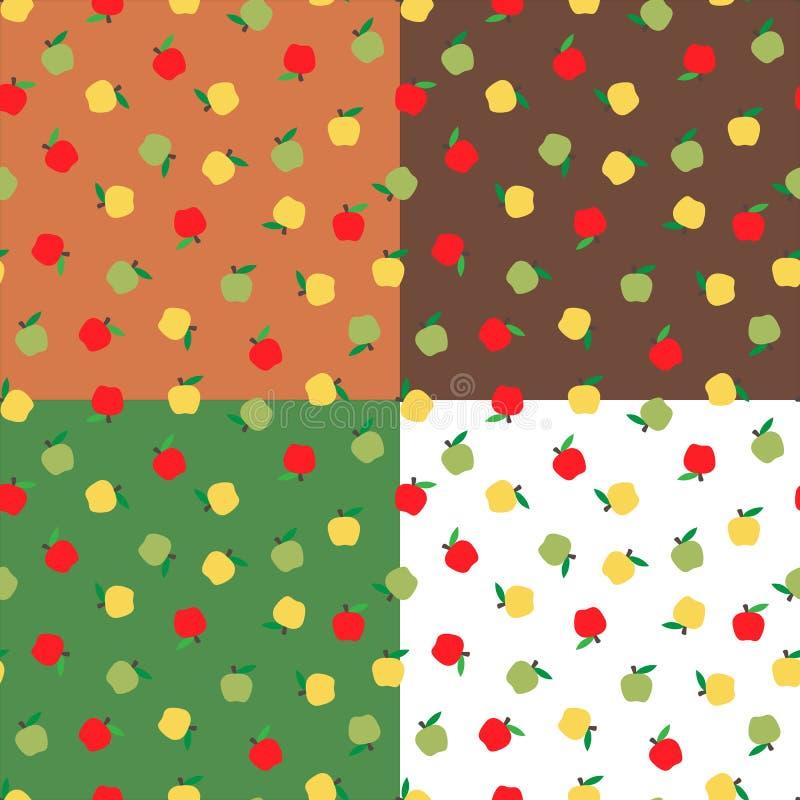 Ställ in sömlös bakgrund med äpplen Säsongsbetonad bakgrund för höst, skola äpplemodeller för design stock illustrationer