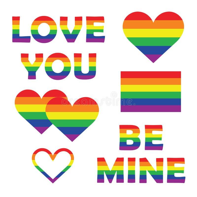 Ställ in samlingen av beståndsdelar för glad stolthet med former för regnbågespektrumhjärta, bokstäver, flagga Homosexualitetembl stock illustrationer