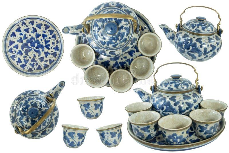Ställ in samlingen av färg för blått för te för porslin för krukmakeri för porslindesign keramisk royaltyfri fotografi