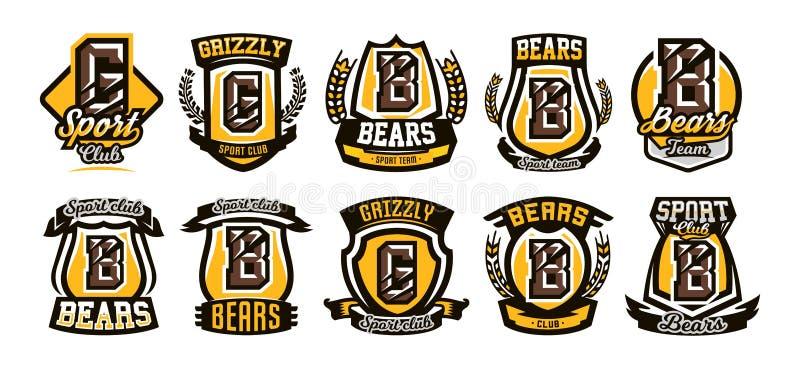 Ställ in samlingen av färgrika logoer, emblem, bokstav den skrapade ilskna björnen för jordluckraren, grisslybjörn Vektorillustra vektor illustrationer