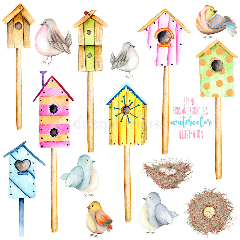 Ställ in, samlingen av färgrika voljärer för vattenfärgen, gulliga fåglar och bygga bo illustrationer royaltyfri illustrationer