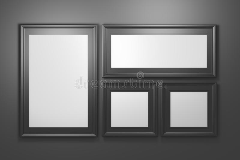 Ställ in samlingen av svarta fotoramar på svart bakgrund royaltyfri illustrationer