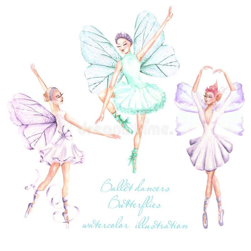 Ställ in samlingen av vattenfärgbalettdansörer med fjärilsvingillustrationer royaltyfri illustrationer