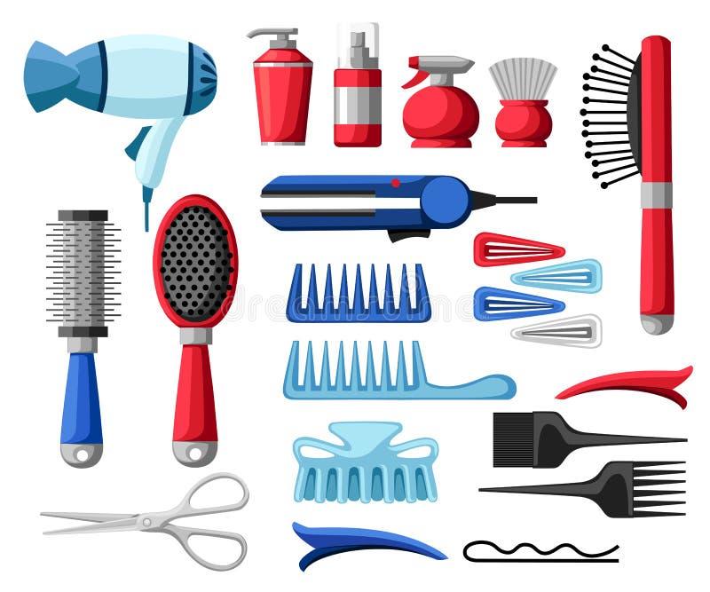 Ställ in samlingen av yrkesmässigt H för flaskan och för röret för hårkam för hårtork för sax för hjälpmedel för frisering för fr vektor illustrationer