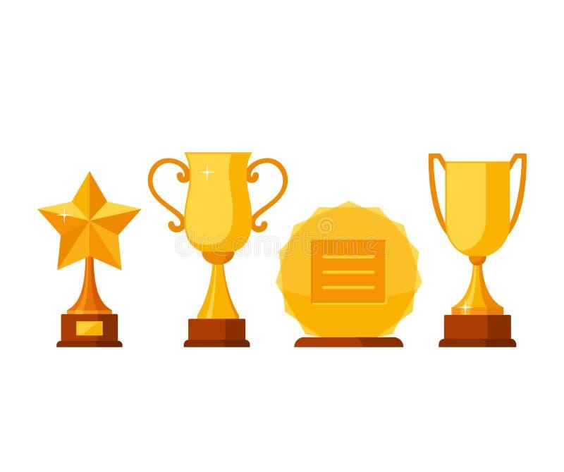 Ställ in samlingen för trofévinnareutmärkelsen isolerad på vit bakgrund Guld- koppar och utmärkelser i plan stil Priser och stock illustrationer