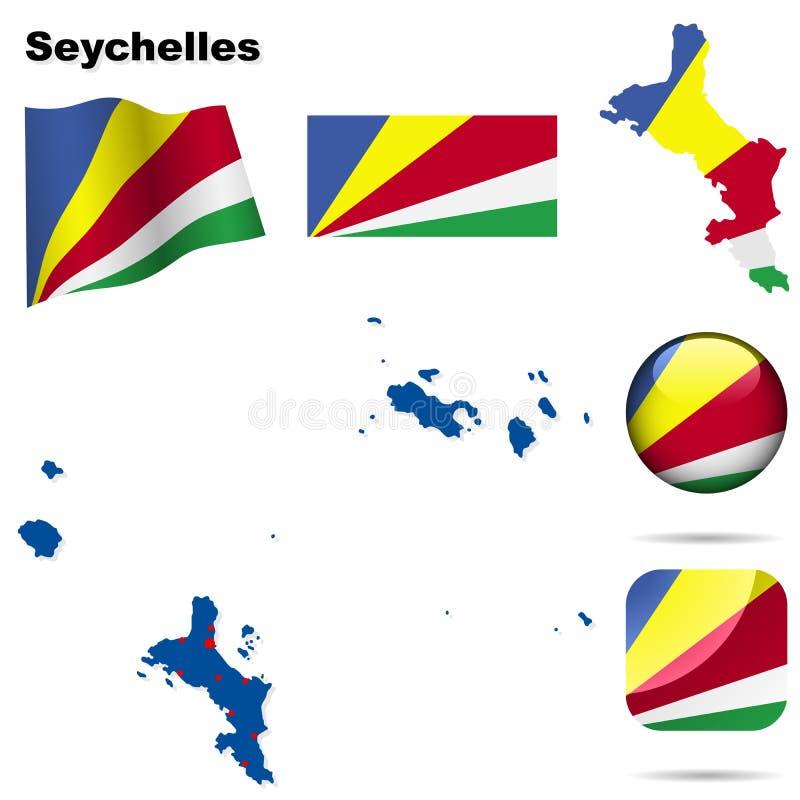 ställ in seychelles vektor illustrationer