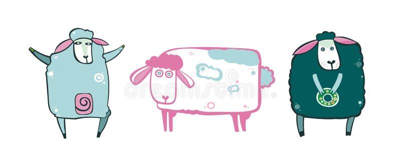 ställ in sheeps royaltyfri illustrationer