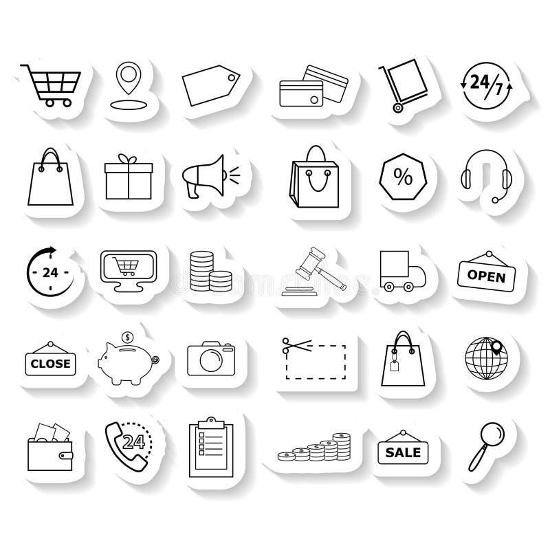 Ställ in shoppingklistermärkesymboler stock illustrationer