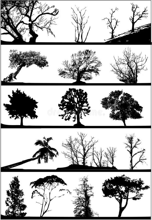 ställ in silhouettestreen vektor illustrationer