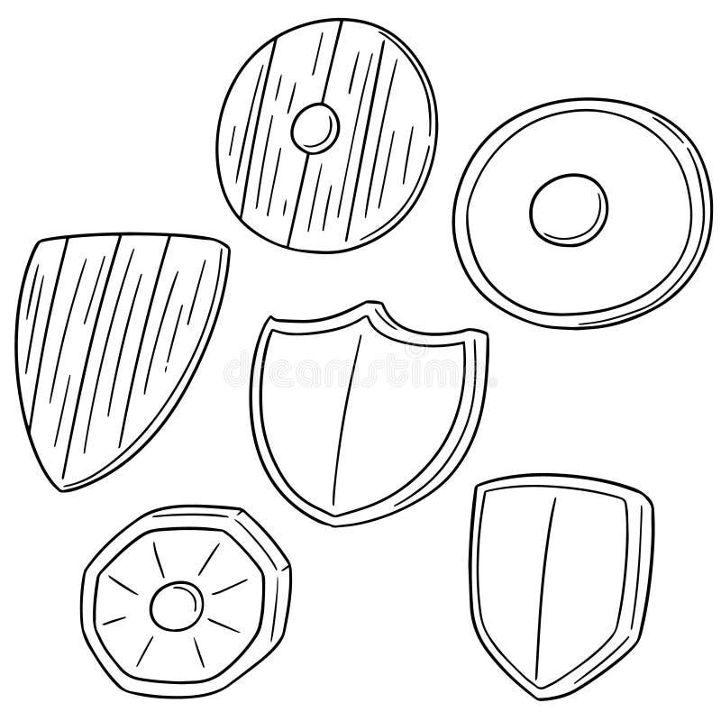 ställ in sköldar royaltyfri illustrationer