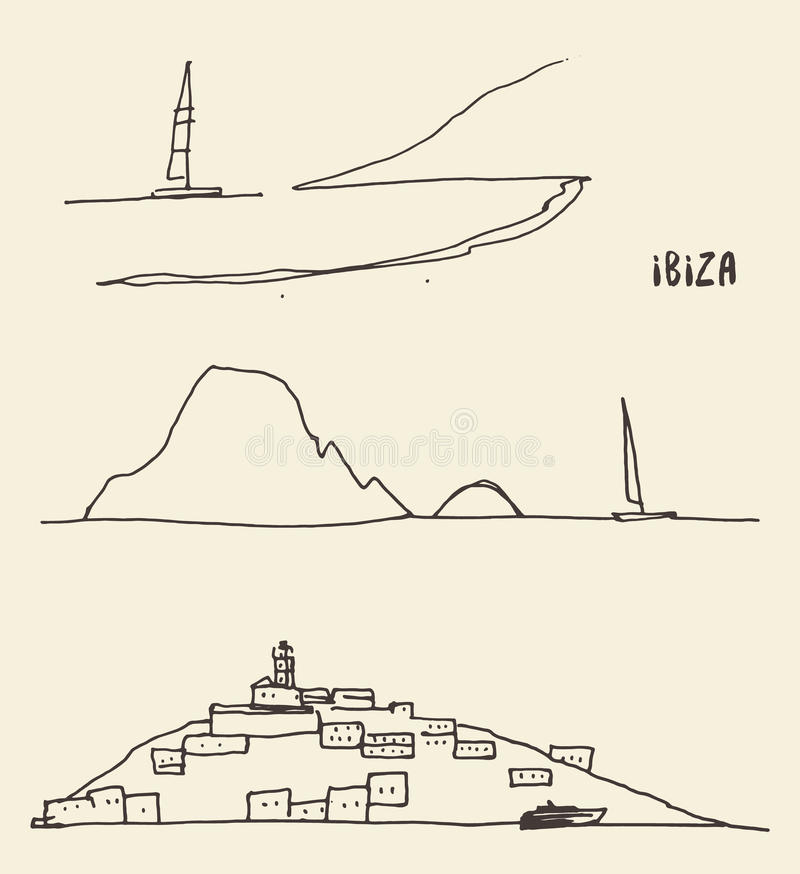 Ställ in skissar illustrationen för den Ibiza landskapvektorn royaltyfri illustrationer
