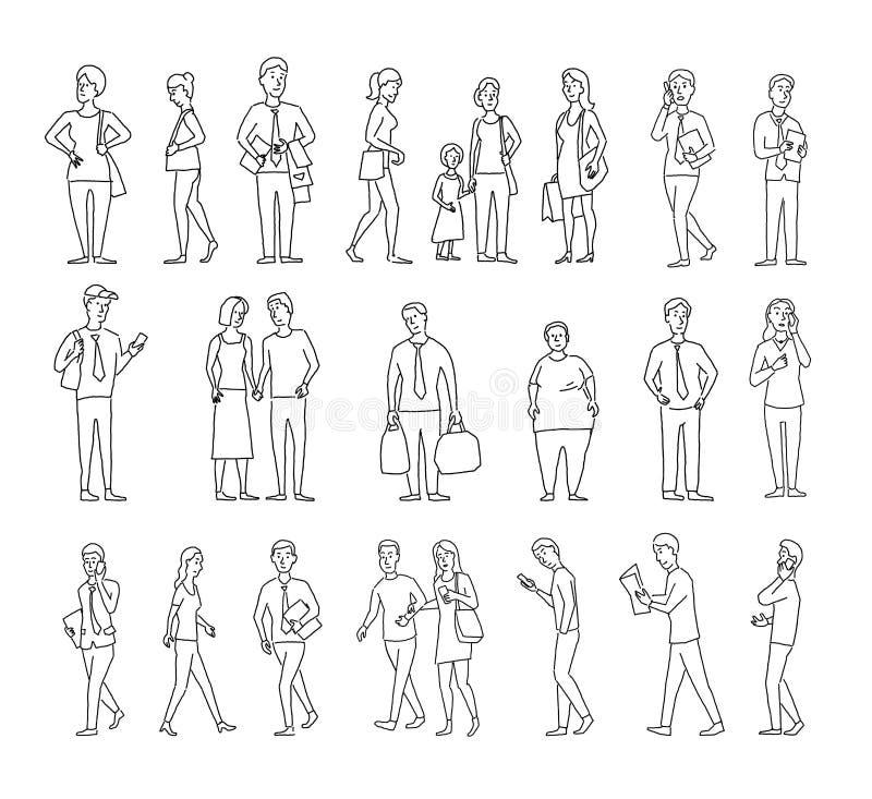 Ställ in skissar mycket olika personer Många vanliga människor på gatan Hand dragen svart linje vektormateriel royaltyfri illustrationer