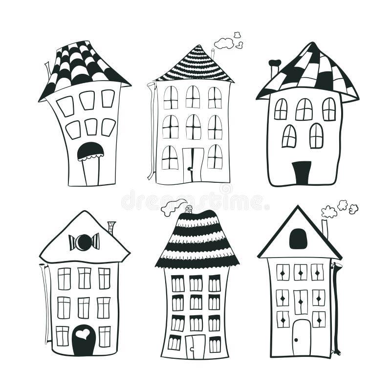 Ställ in skissar svartvita översiktshus in royaltyfri illustrationer