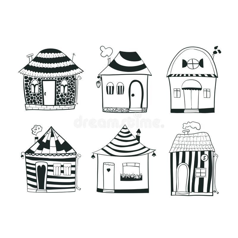Ställ in skissar svartvita översiktshus in stock illustrationer