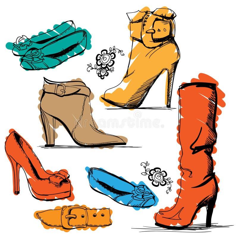 ställ in skor stock illustrationer
