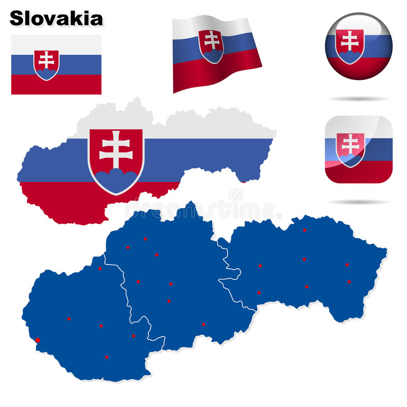 ställ in slovakia stock illustrationer