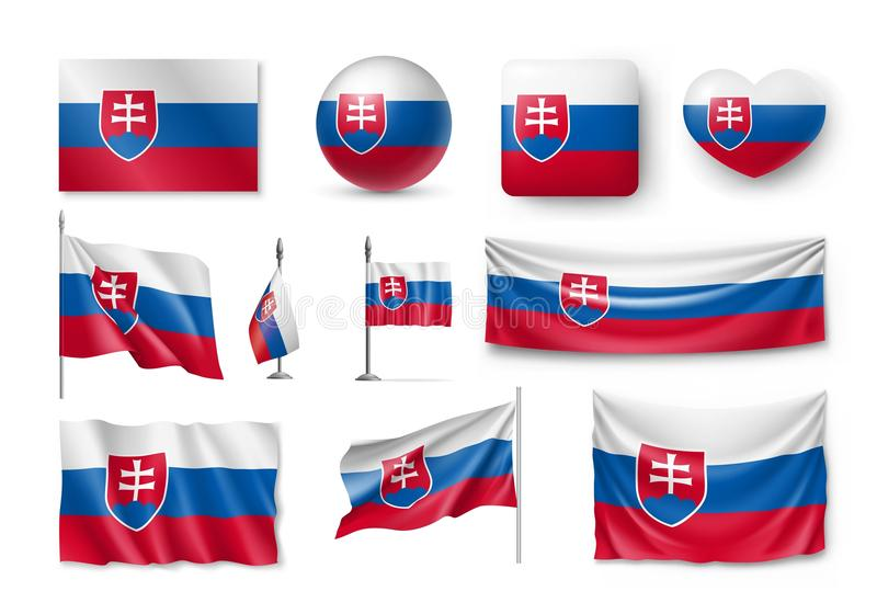 Ställ in Slovakien flaggor, baner, baner, symboler, plan symbol royaltyfri illustrationer