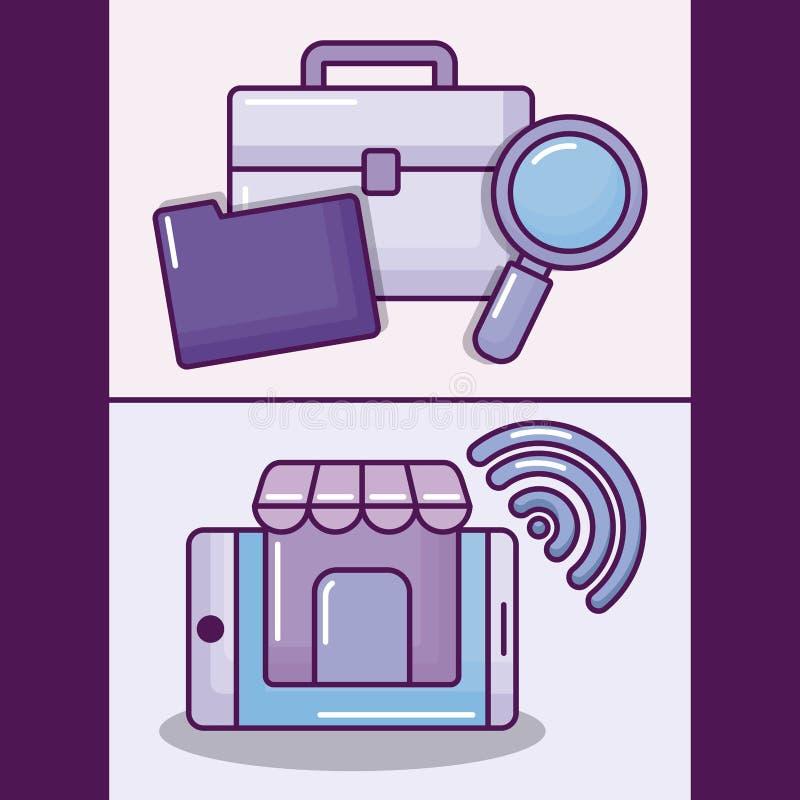 Ställ in smartphonen med symboler för den elektroniska affären stock illustrationer