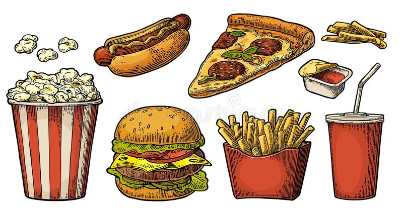 Ställ in snabbmat Exponeringsglas av cola, hamburgare, pizza, hotdog, småfiskpotatis i den pappers- asken, fullt popcorn för låda stock illustrationer