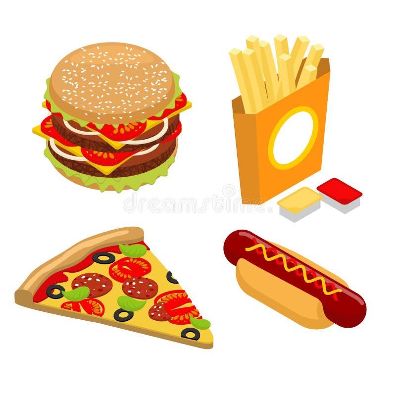 Ställ in snabbmatisometricsen Stor saftig hamburgare och kotlett Franska f vektor illustrationer