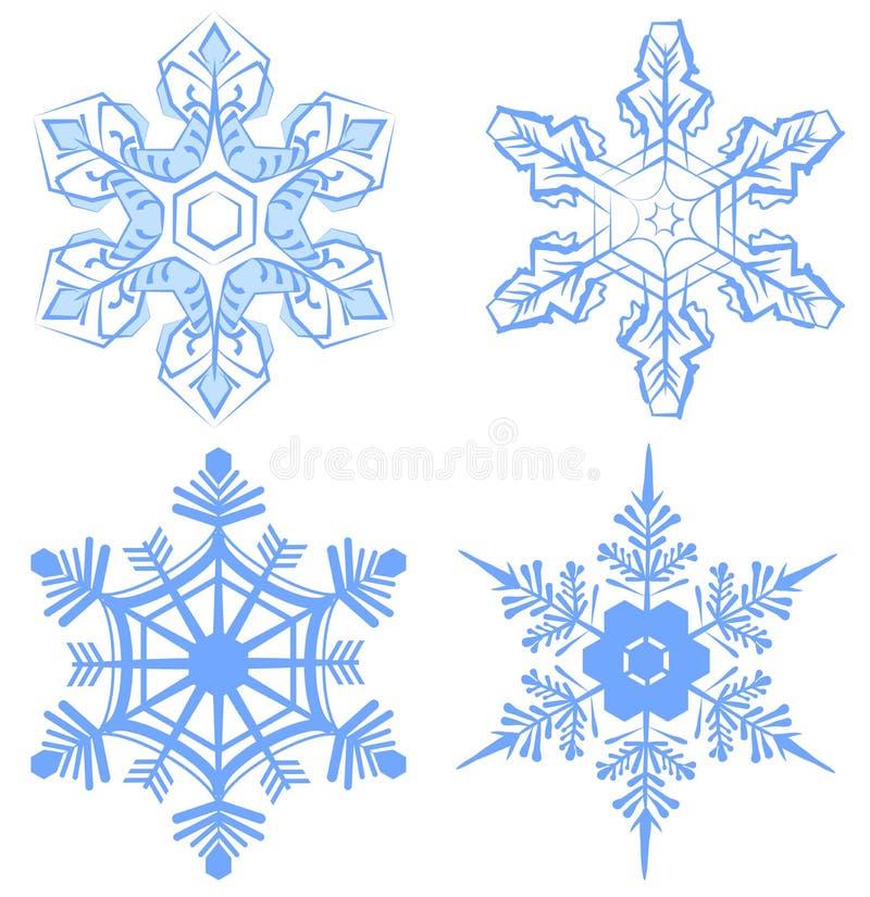 ställ in snowflaken Flake av snow royaltyfri illustrationer