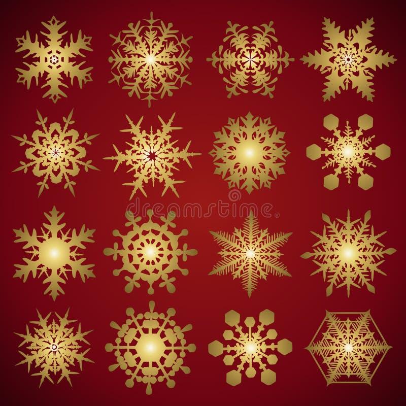 ställ in snowflakesvektorn stock illustrationer
