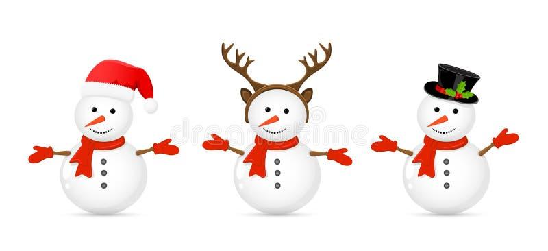 ställ in snowmen vektor illustrationer