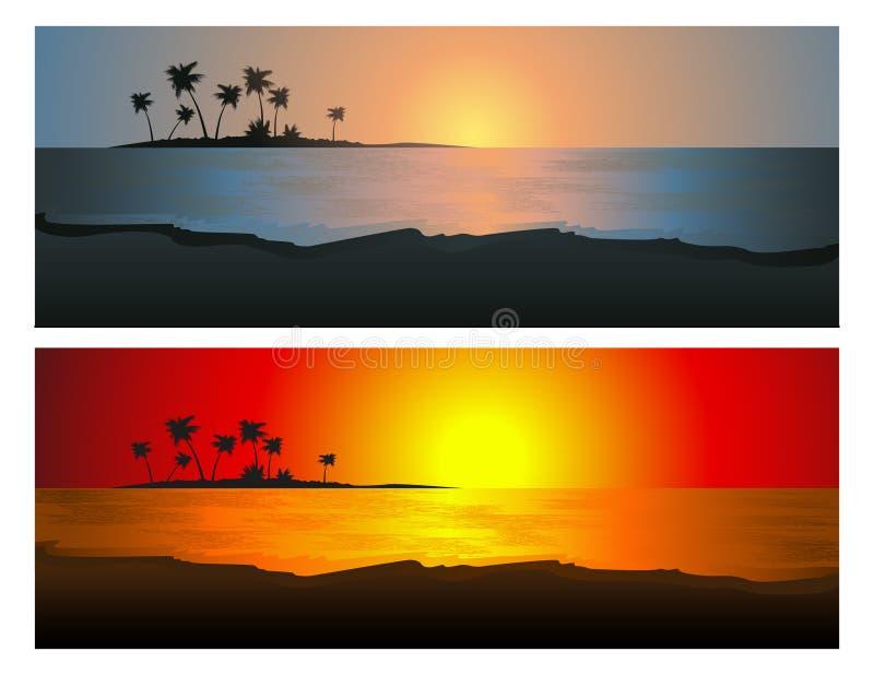 ställ in solnedgången tropisk stock illustrationer