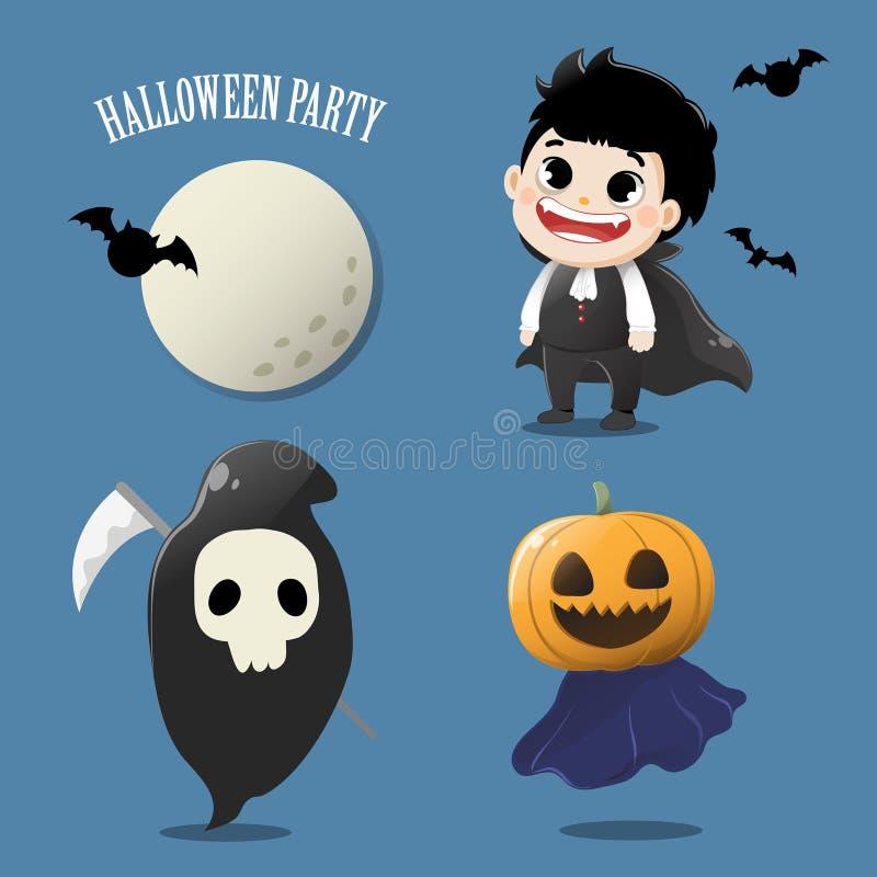 Ställ in spöken gullig i den halloween natten royaltyfri illustrationer