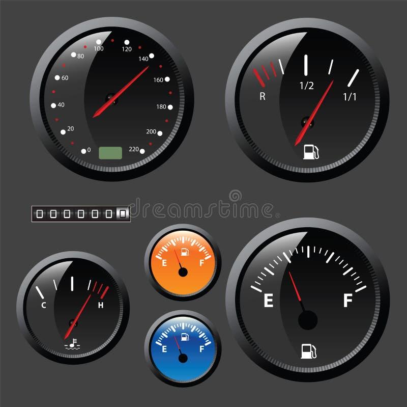 ställ in speedometervektorn royaltyfri illustrationer