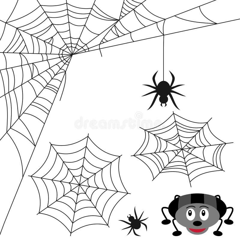 ställ in spindelrengöringsduken stock illustrationer