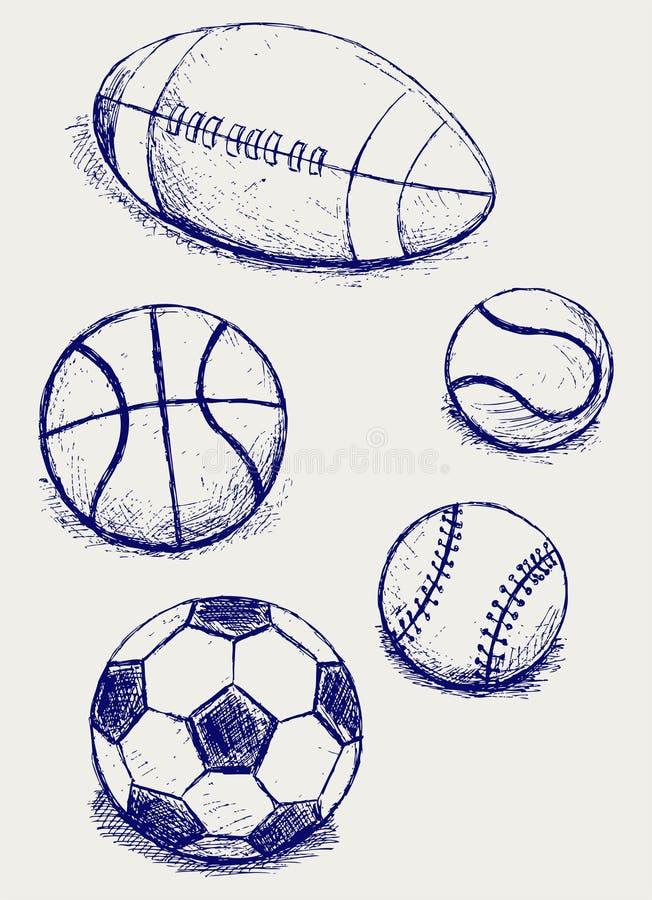 Ställ in sportbollar royaltyfri illustrationer