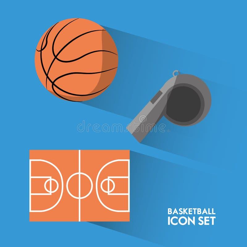 Ställ in sporten för begreppssymbolsbasket stock illustrationer