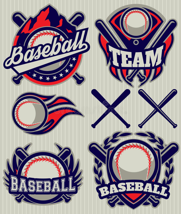 Ställ in sportmallen med bollen och slagträn för baseball stock illustrationer
