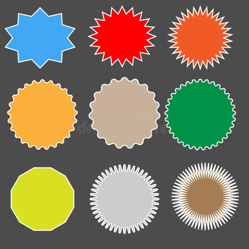 Ställ in starburst på svart bakgrund starbursttecken stock illustrationer