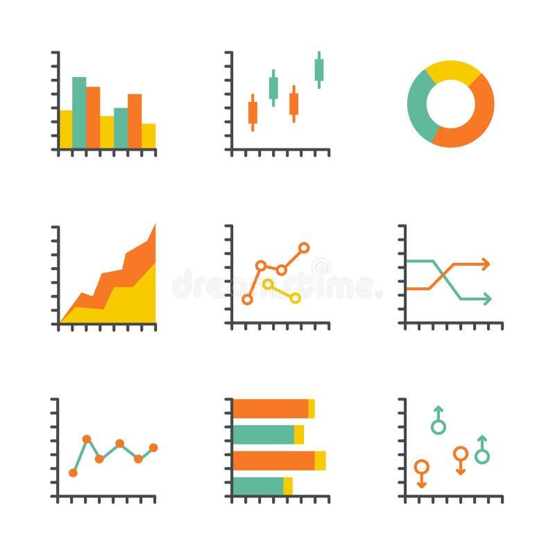 Ställ in statistiksymbolen stock illustrationer