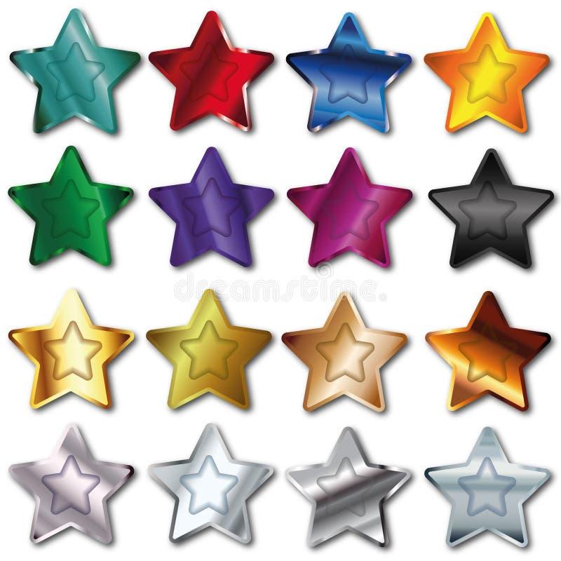 Ställ in stjärnan stock illustrationer