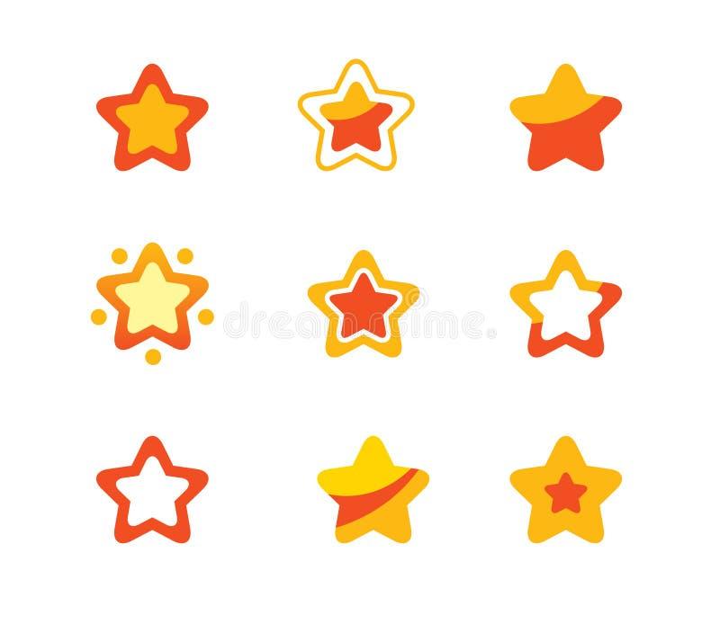 ställ in stjärnor royaltyfri illustrationer