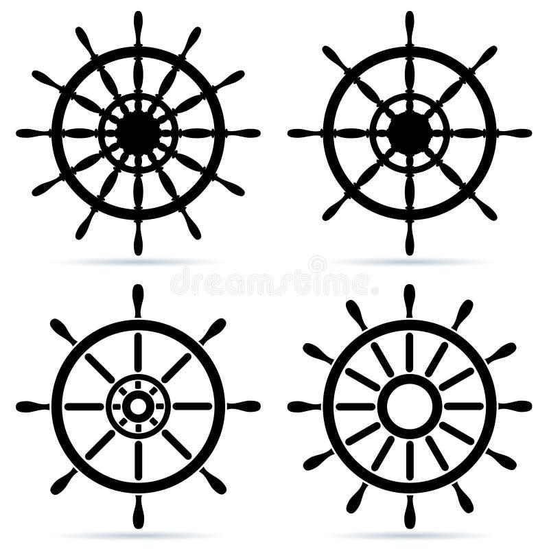 ställ in styrningshjul stock illustrationer