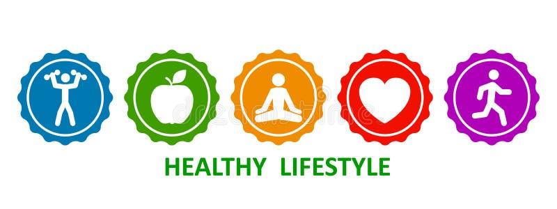 Ställ in sunda livsstilsymboler, knappar av hantlar, äpplet, yoga, hjärta och körningen – materielvektor stock illustrationer