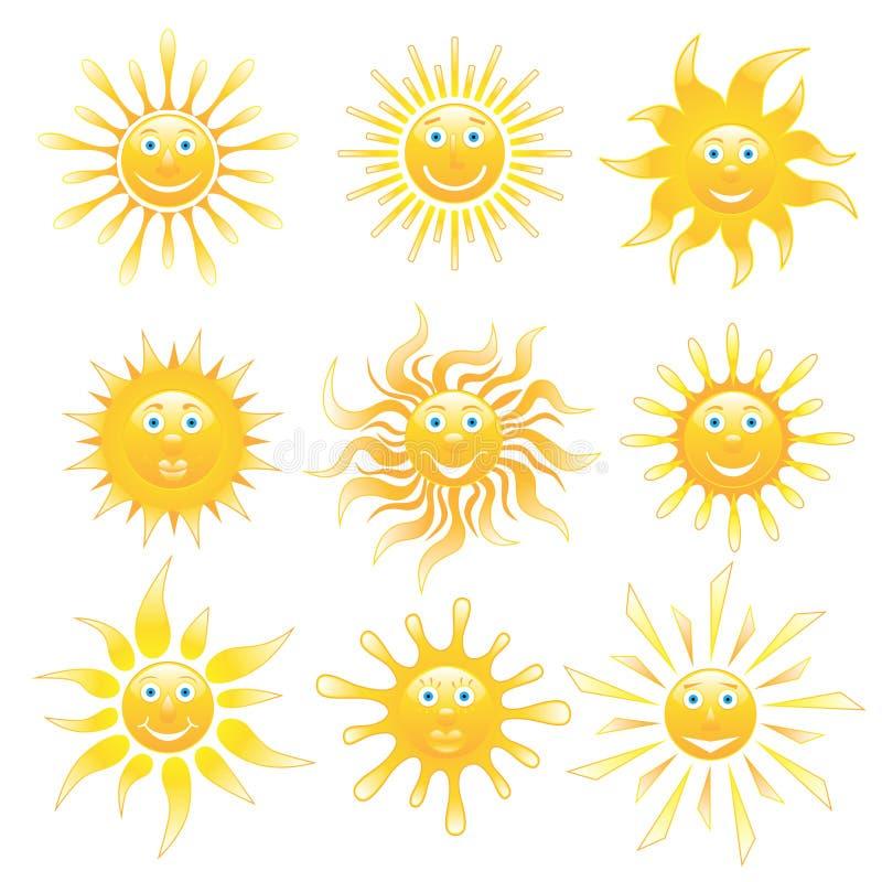 ställ in suns stock illustrationer