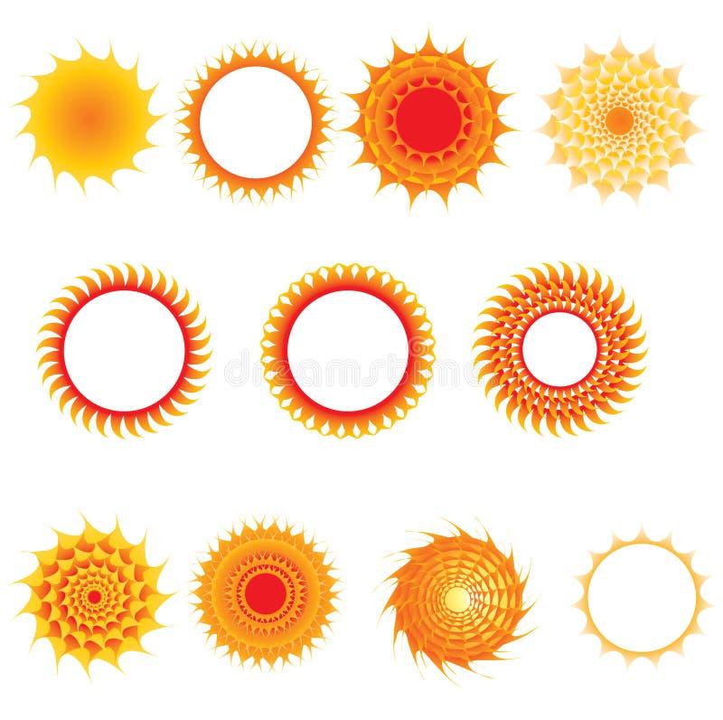 ställ in sunsymboler stock illustrationer
